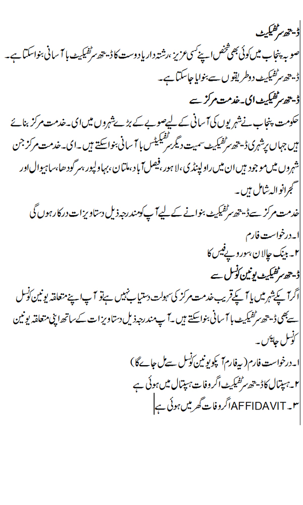 Death Certificate urdu guidelines